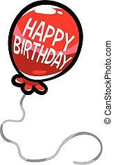 vettore, palloni, compleanno, Felice