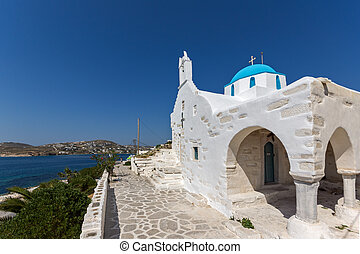 Paros island, Cyclades, Greece - Amazing White chuch and...