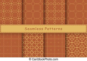 Set of 8 seamless patterns in ethnic style. Autumn geometric...
