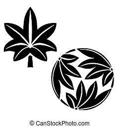 The stylized maple leaves, Japanese symbolism - The stylized...