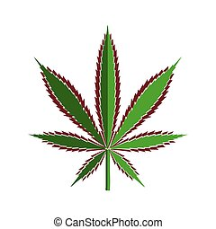 Green cannabis leaf cut out of paper, stylized