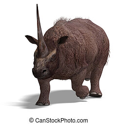 Dinosaur Elasmotherium. 3D rendering with clipping path and...