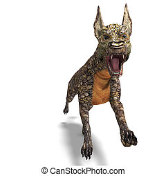 dangerous alien dog with lizard skin. 3D rendering with clipping path and shadow over white