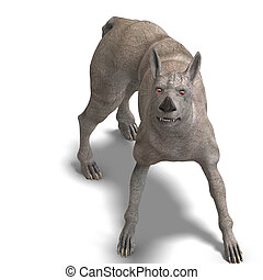 curious alien dog with rhino skin and horn. 3D rendering...