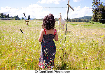 Girl and Horse - An african american black girl stands in a...