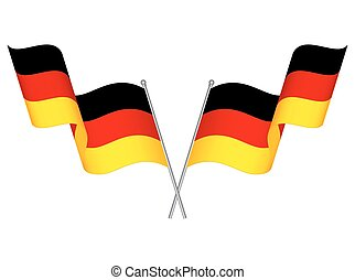 Two crossed waving Germany flags - Two crossed waving USA...
