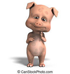cute and funny cartoon pig. 3D rendering with clipping path and shadow over white