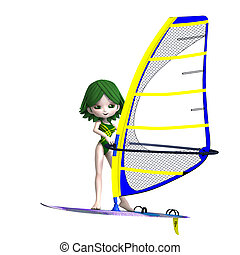 sweet cartoon girl standing on a surfboard. 3D rendering with clipping path and shadow over white