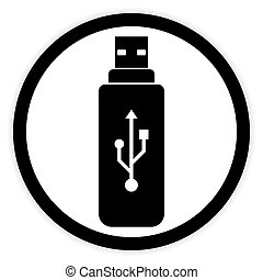 Usb flash button. - Usb flash button on white background....