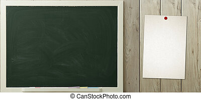 blackboard and paper hanging on the wall
