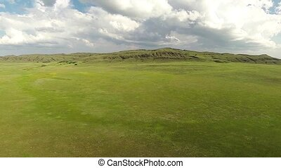 Aerial view of in the steppe Kazakhstan. Aerophotography.