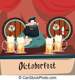 Cartoon Man At Bar Beer Glass Mug Barrel Oktoberfest...