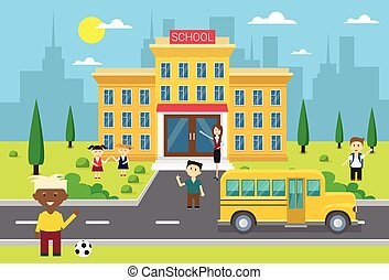 Schoolchildren Group Near School Building Exterior Yellow...