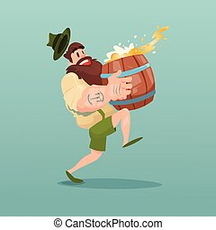 Bearded Man Carry Beer Barrel Flat Vector Illustration