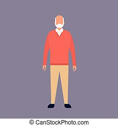 Senior Man Grandfather Full Length Grandpa Flat Vector...