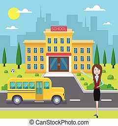 School Building Exterior Teacher Near Yellow Bus Flat Vector...