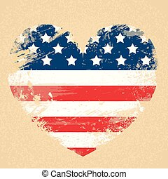 United States Flag Heart National USA Patriot Day Banner...