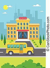 School Building Exterior Yellow Bus City View Flat Vector...