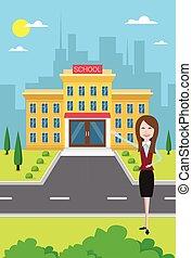 Teacher Near School Building Exterior City View Flat Vector...