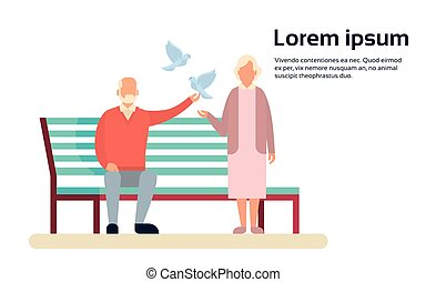 Senior Couple Grandmother And Grandfather Bench In Park...