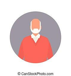 Senior Man Grandfather Web Icon Grandpa Flat Vector...