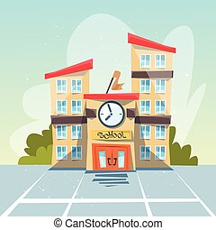 School Building Exterior Yard Flat Vector Illustration