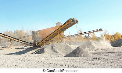 Sorting gravel enterprise is working. Industrial equipment...