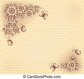 Vintage card with flowers and butterfly, vector illustration...