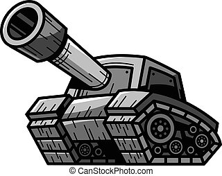 Cartoon Army Tank Machine with Big Cannon Ready to Fire...