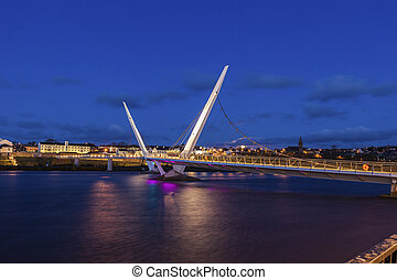 Peace Bridge in Derry. Derry, Northern Ireland, United...