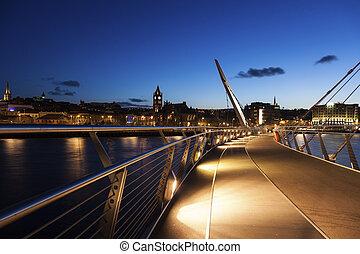 Peace Bridge in Derry. Derry, Northern Ireland, United...