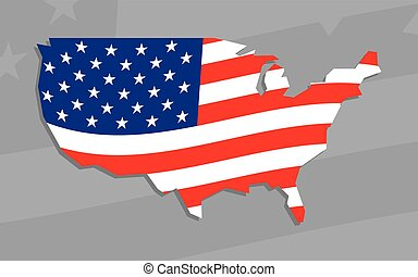 USA Country Shape Flag