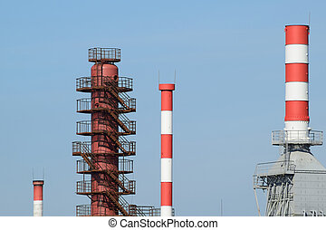 Pipes refinery furnaces and distillation column The...