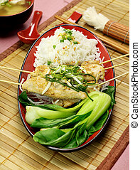 Asian Chicken Skewers - Asian chicken skewers with short...
