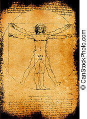 Photo of the Vitruvian Man by Leonardo Da Vinci from 1492 on...