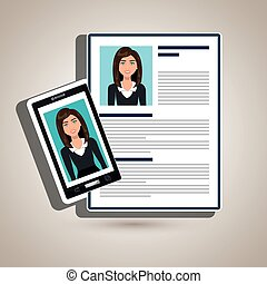 woman smartphone find person cv vector illustration graphic