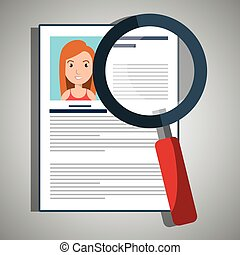 search curriculum cv woman vector illustration graphic