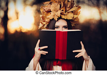 Girl With Leaves Crown Reading - Portrait of a fall princess...