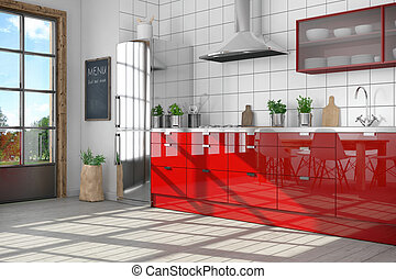 3d render - modern kitchen interior