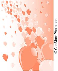 Two Tone Baloons - Baloons flying away into the sky over a...