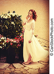 brilliance beauty - Beautiful young woman in luxurious white...