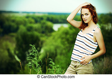 thunderstorms mood - Portrait of a beautiful young woman on...
