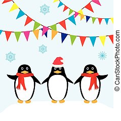 penguins - vector Chrismas card with penguins