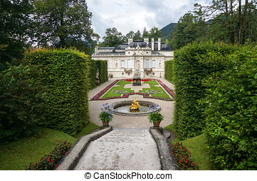 linderhof palace garden view. linderhof palace is located in...