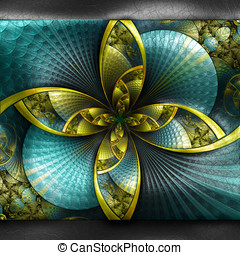 Plastic fractal on leather - Plastic background with...