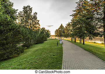 Park in summer - Lithuanian landscape come the fall when the...
