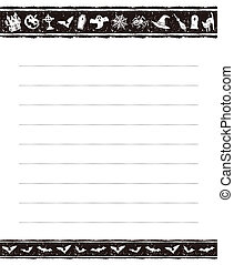 Halloween memo pad design - Halloween black and white memo...