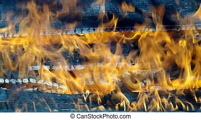 fire - House wooden wall on fire and smoke