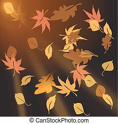 Multi-colored autumn leaves, crumbling at sunset. Vector...