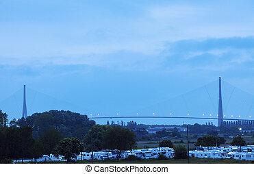 Pont de Normandie in Le Havre. Le Havre, Normandy, France